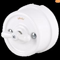 Выключатель керамический белый поворотный 1-клавишный/переключатель Werkel