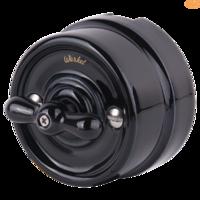Выключатель керамический чёрный поворотный 1-клавишный/переключатель Werkel