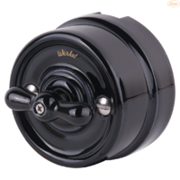 Выключатель керамический черный поворотный 2-клавишный Werkel