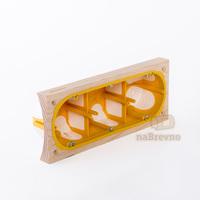 Герметичный подрозетник с подложкой на бревно 220 мм, трехместный