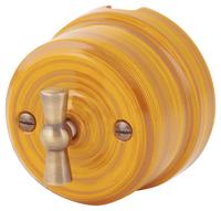 Выключатель поворотный двухклавишный Lindas бамбук