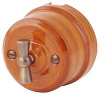 Выключатель поворотный двухклавишный Lindas орех