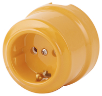 Керамическая ретро розетка Lindas 220В золотистая охра