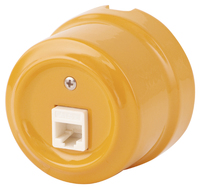 Керамическая ретро розетка Lindas компьютерная (RJ-45) золотистая охра