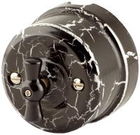 Выключатель поворотный двухклавишный Lindas чёрный камень