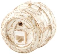 Керамическая ретро розетка Lindas компьютерная (RJ-45) мрамор